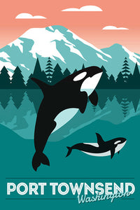 Port Townsend, Washington - Orca Whale and Calf - Vector [12x18 Print]