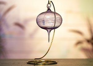 Blown Glass Ornament - Light Lavender With Icing