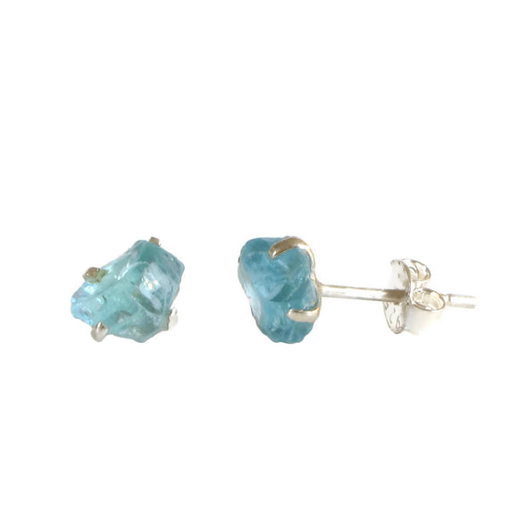 Raw Apatite Sterling Silver Studs