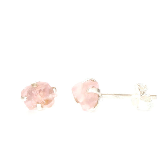 Raw Rose Quartz Sterling Silver Studs