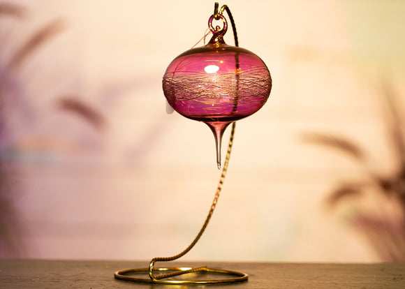 Blown Glass Ornament - Pink and Yellow
