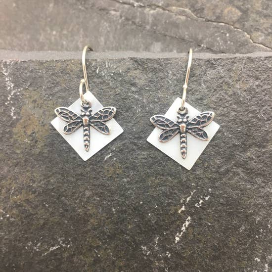 Silver Dragonfly With Square Mother Of Pearl Earring
