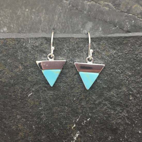 Silver Turquoise Triangle Earrings