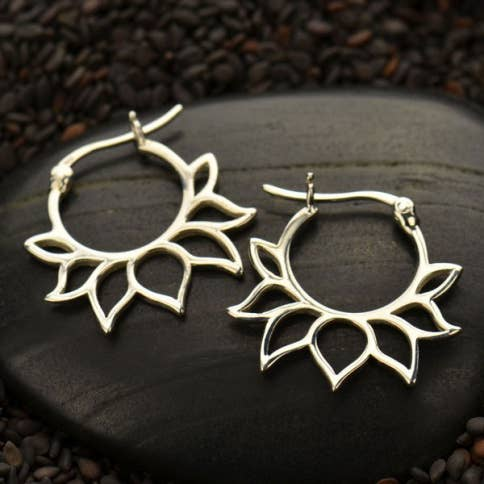 Sterling Silver lotus hoop earring