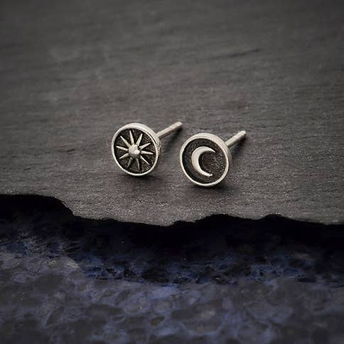 Sterling silver sun and moon post earrings