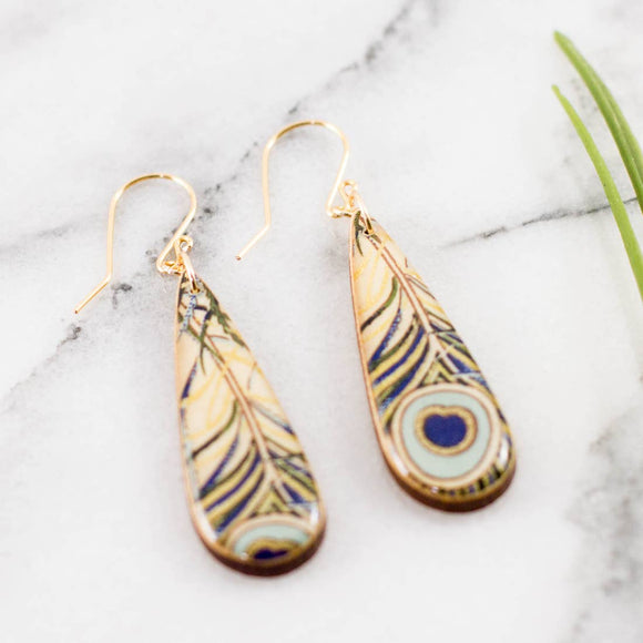 Teardrop Peacock Feather Earrings