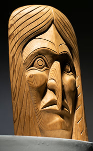 Vintage Yellow Cedar Carved Face Mask
