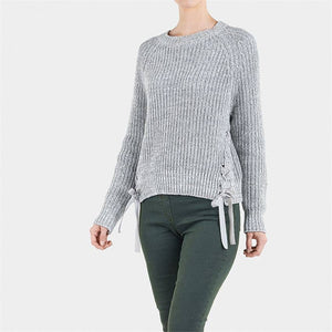 Velvet Tie Shaker Sweater - Grey