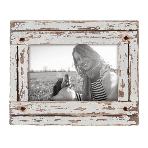 White 4x6 Inch Decorative Distressed Wood Picture Frame