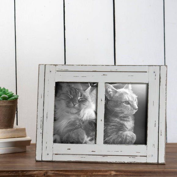 White 5 x 7 inch Decorative Distressed Wood Picture Frame