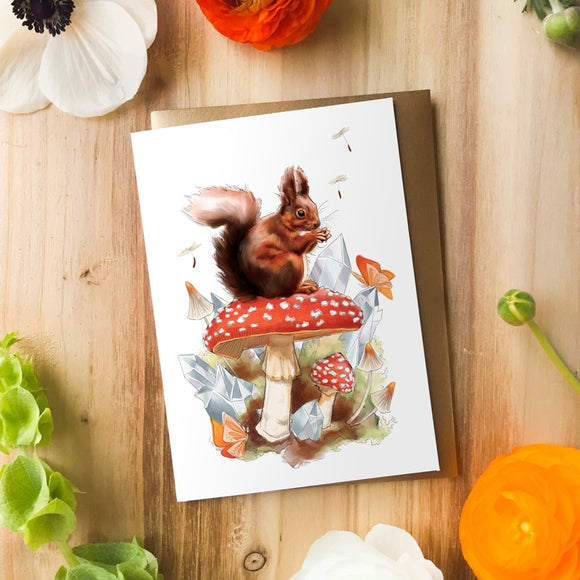 Woodland Squirrel with Mushroom | Greeting Card