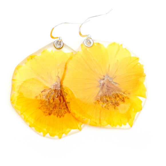 Yellow Cosmos Flower Earrings