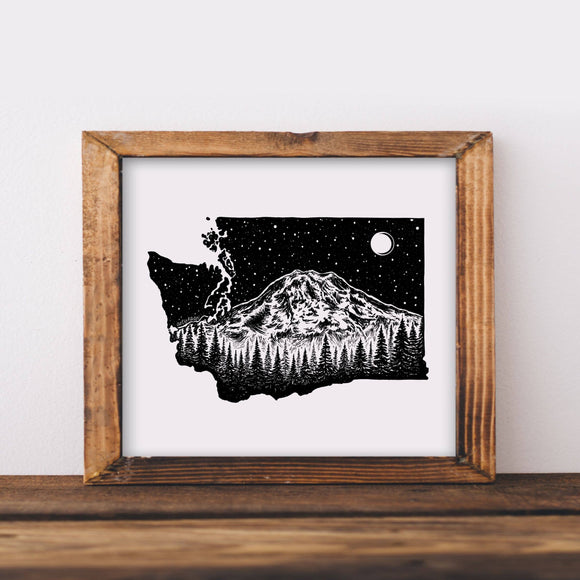 Washington and Mount Rainier Art Print