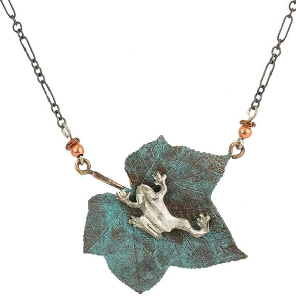 Silver Tree Frog on Bronze Thimbleberry leaf, Chain
