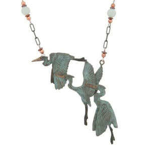 "3 Herons 6 Beaded Necklace, 18"" chain"