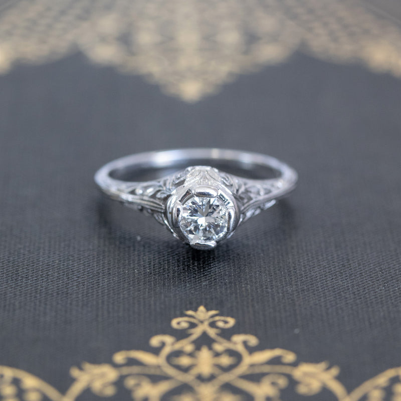 .34ct Early Round Brilliant Solitaire Filigree Ring
