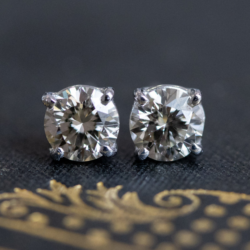 .87ctw 4 Prong Diamond Solitaire Studs