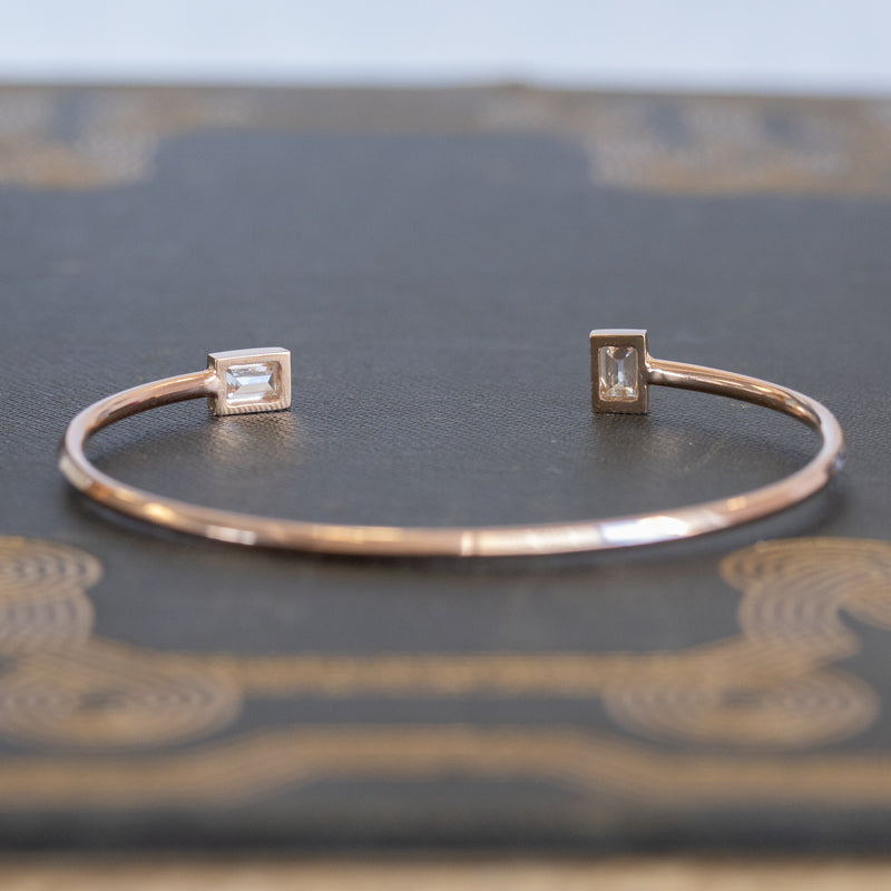 .88ctw Twin Stone Baguette Diamond Bangle, 14kt Rose Gold
