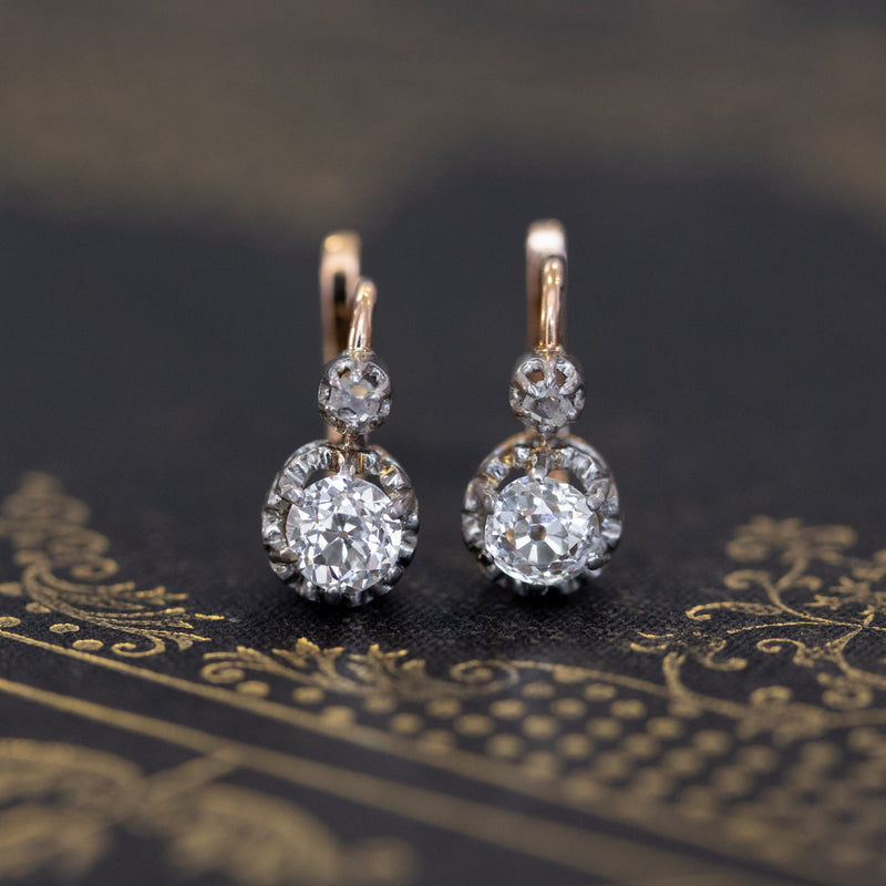 1.11ctw Antique Old Mine Cut Dormeuse Earrings