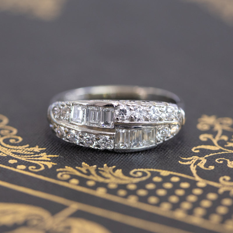 1.00ctw Vintage Double Row Baguette and Diamond Band