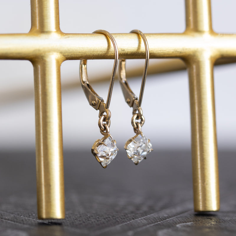1.02ctw French Cut Diamond Drop Earrings, GIA I VVS2
