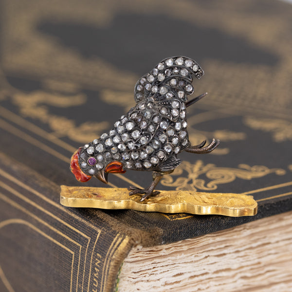 1.05ctw Diamond and Enamel Rooster Brooch