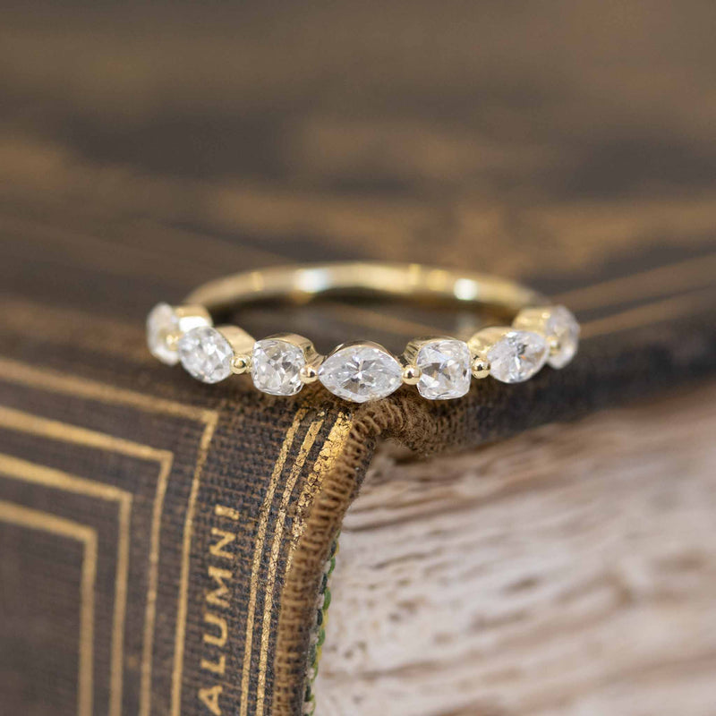 1.05ctw Mixed Marquise & Old Mine Cut Half Eternity Band