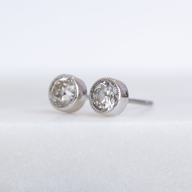 1.10ctw Old European Cut Diamond Bezel Earrings