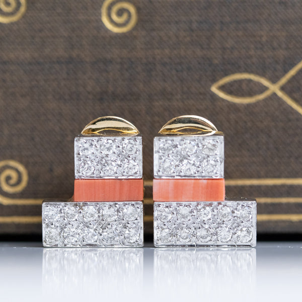 1.10ctw Pave Diamond and Coral Earrings, GRAFF