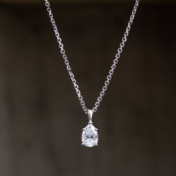 1.11ct Pear Shape Diamond Pendant GIA E VVS2