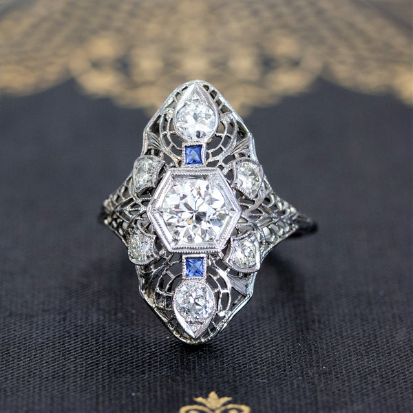 1.17ctw Vintage Filigree Diamond and Sapphire Dinner Ring