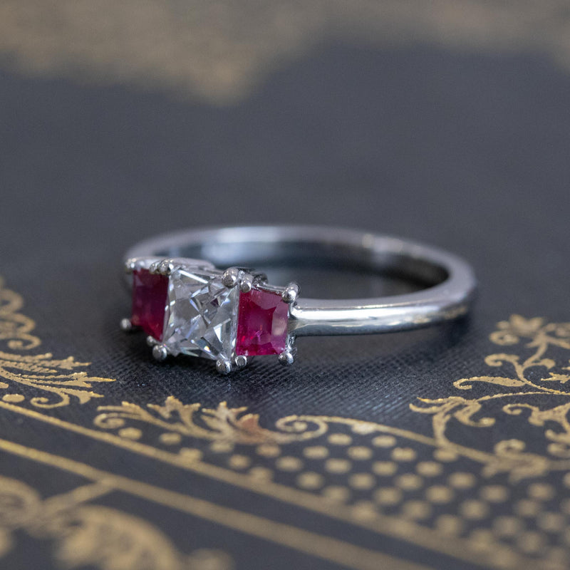 1.18ctw French Cut Diamond and Burmese Ruby Trilogy Ring, GIA F VS1