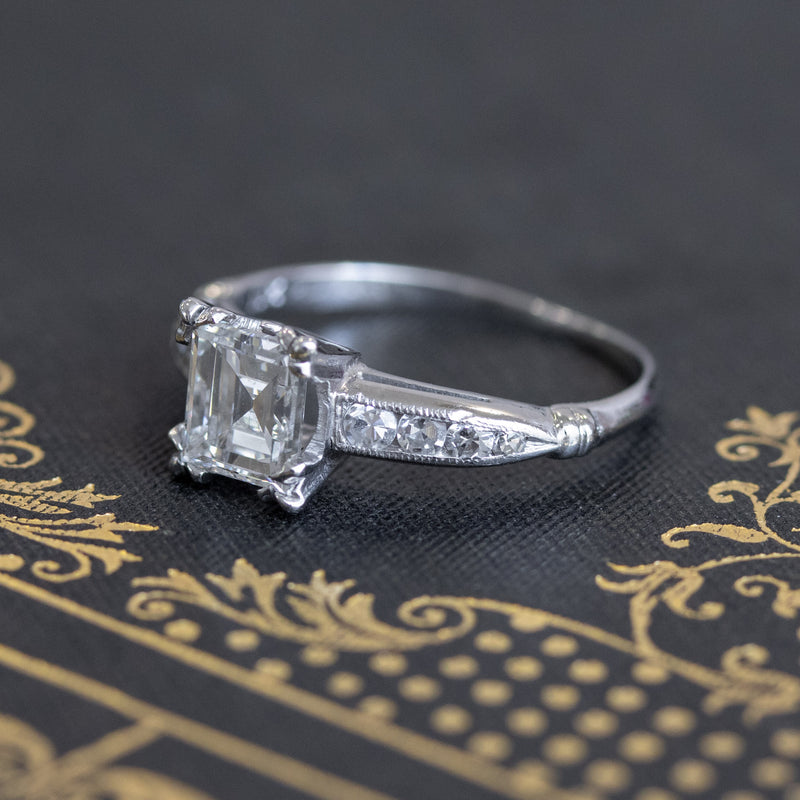 1.19ct Art Deco Carre Cut Diamond Solitaire