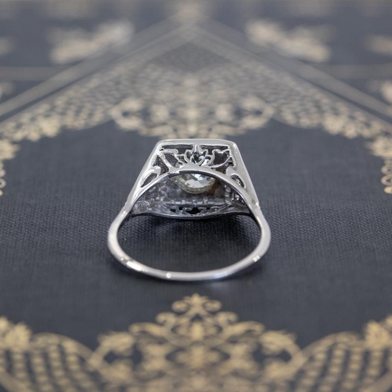1.22ct Vintage Old European Cut Diamond Illusion Solitaire Ring