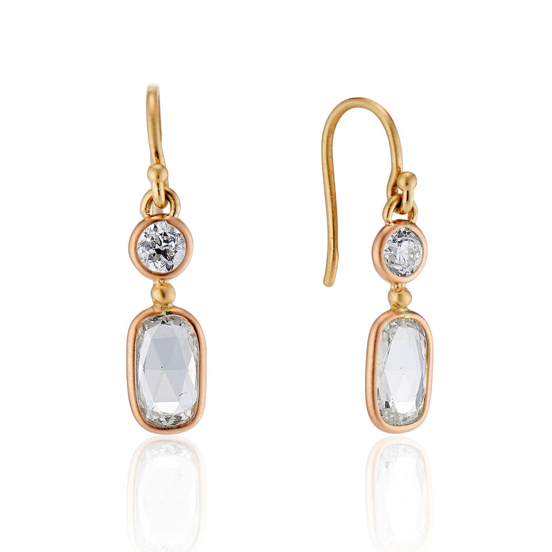 1.24ctw Rose Cut and Old European Cut Diamond Drop Earrings