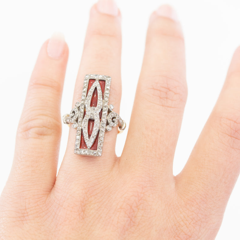 1.25ctw French Antique Diamond and Enamel Dinner Ring