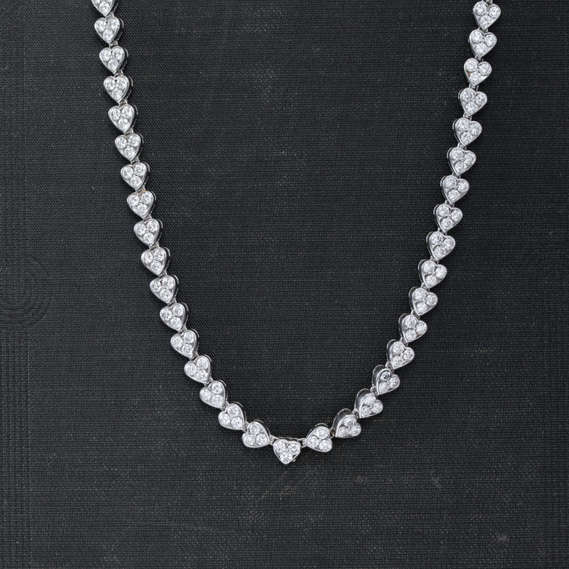 9.50ctw Vintage Diamond Heart Motif Necklace, French