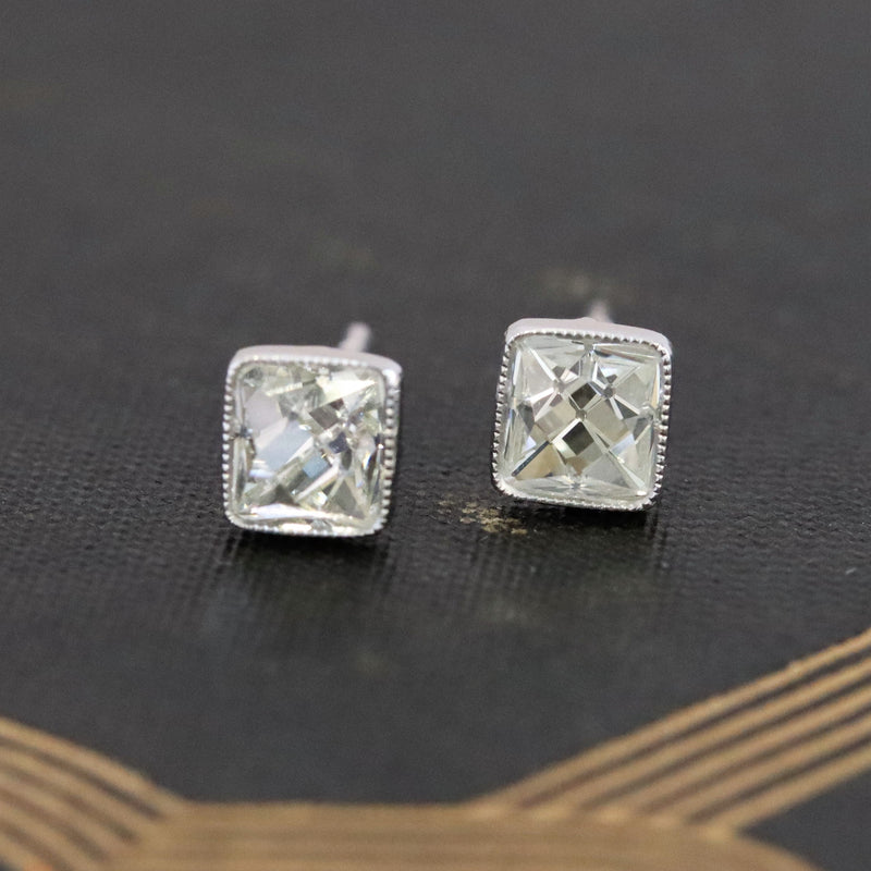 1.43ctw French Cut Bezel Earrings