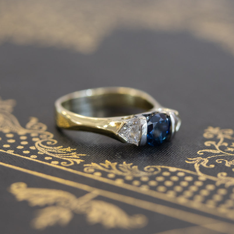 1.45ctw Sapphire and Diamond Trilogy Ring