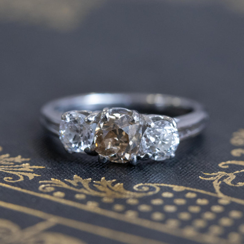 1.47ctw Fancy Brown Old Mine Cut and Old European Cut Diamond 3-Stone Ring