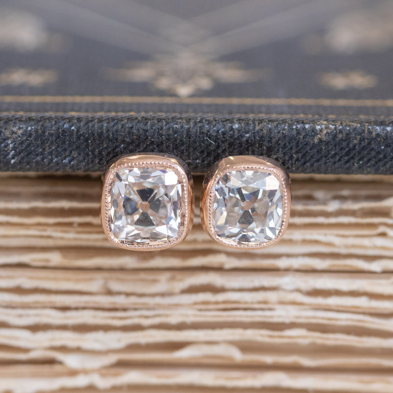 1.48ctw Old Mine Cushion Bezel Stud Earrings, 18kt Rose Gold