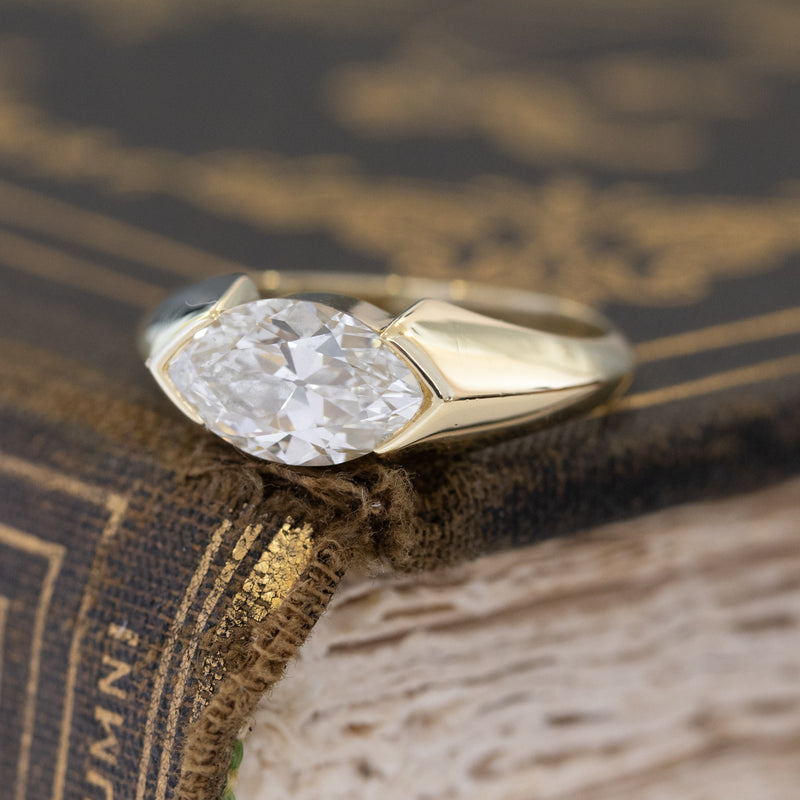 1.49ct Antique Marquise Moval Half-Bezel Ring, GIA I VS
