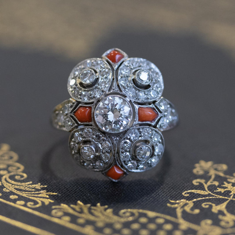 1.54ctw Art Deco Style Diamond and Coral Dinner Ring