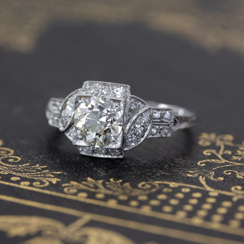 1.60ctw Edwardian Old European Cut Diamond Ring, GIA M VS