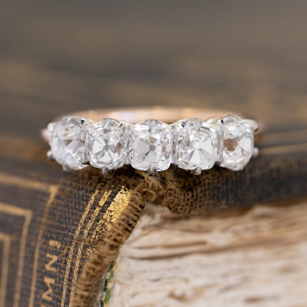 1.60ctw Old Mine Cushion Cut Diamond 5-Stone Band