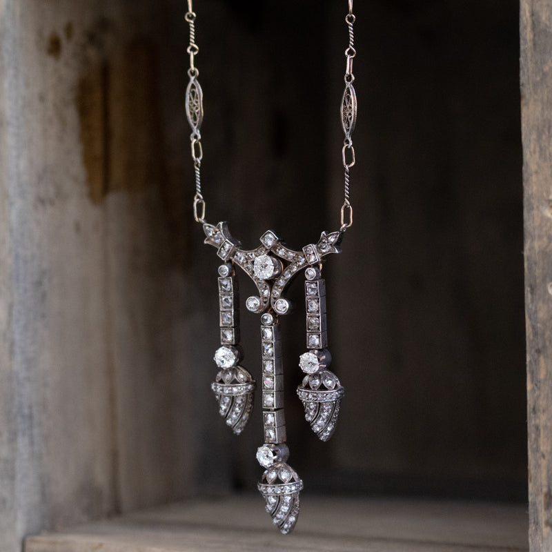 1.63ctw Victorian Triple Drop Diamond Necklace