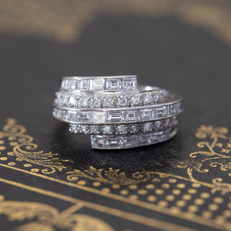 1.67ctw Vintage Coiled Baguette & Round Diamond Band