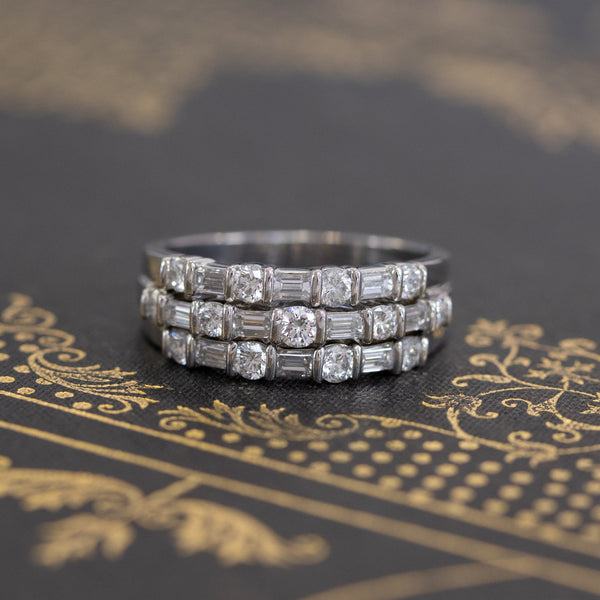 1.35ctw Round & Baguette Diamond Stacked Band, by Gemlok