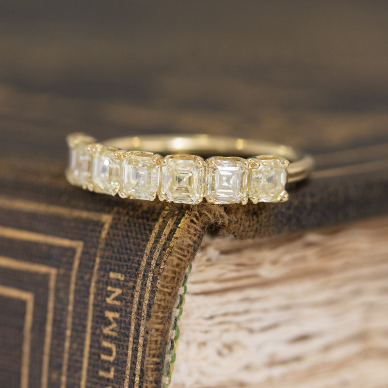 1.77ctw 7-stone Yellow Asscher Cut Diamond Band