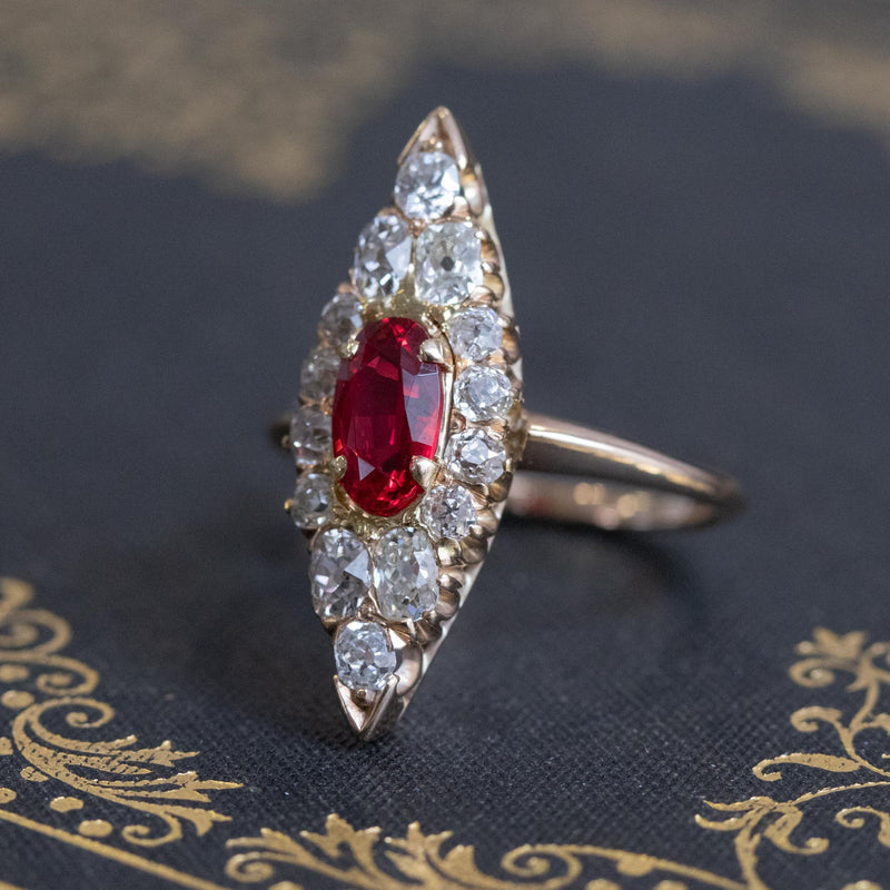 1.79ctw Antique Spinel and Diamond Navette Ring